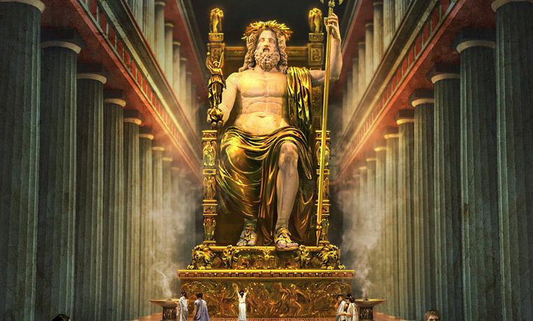 Где находится статуя зевсу